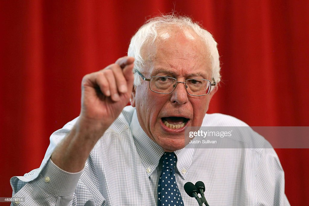 Independent presidential candidate U.S. Sen. Bernie Sanders (I-VT) speaks during a 'Brunch with Bernie' campaign rally at the National Nurses United offices on August 10, 2015 in Oakland, California. The National Nurses United members announced their endorsement for independent presedential candidate Sen. Bernie Sanders during a campaign stop before he heads to Los Angeles for a campaign rally in Los Angeles at the Memorial Sports Arena.