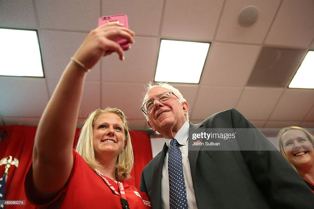 Independent presidential candidate U.S. Sen. Bernie Sanders (I-VT) takes a selfie with a nurse from the National Nurse United during a 'Brunch with Bernie' campaign rally at the National Nurses United offices on August 10, 2015 in Oakland, California. The National Nurses United members announced their endorsement for independent presedential candidate Sen. Bernie Sanders during a campaign stop before he heads to Los Angeles for a campaign rally in Los Angeles at the Memorial Sports Arena.