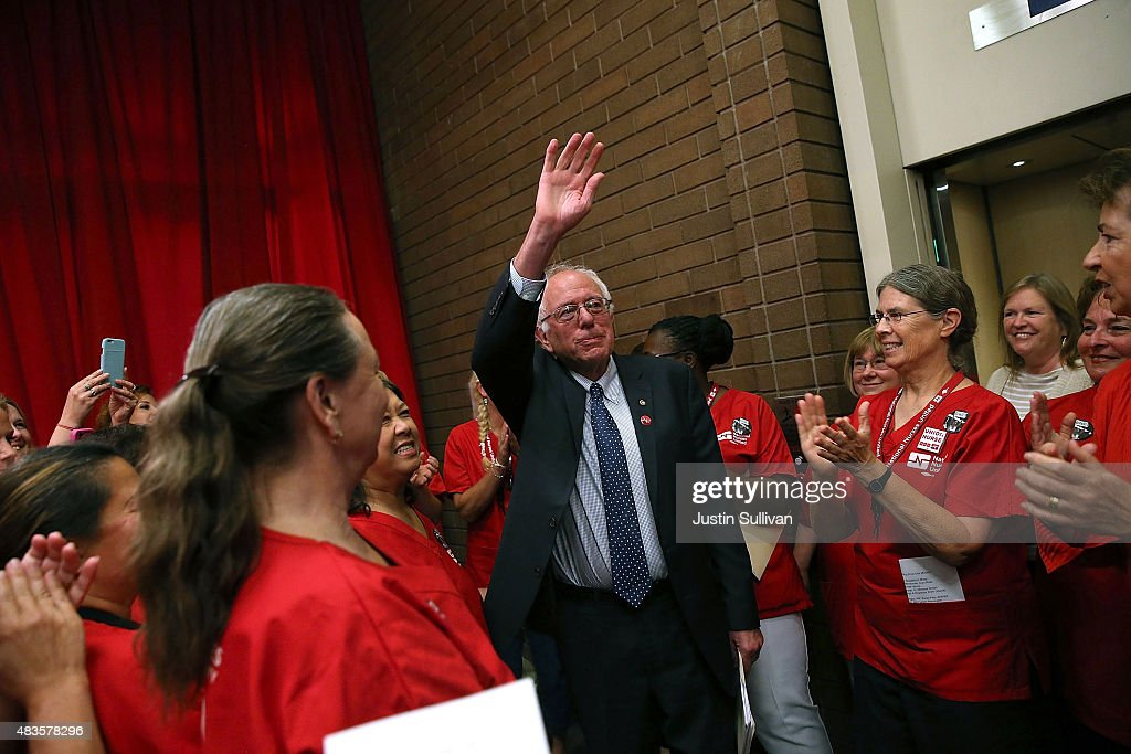 Independent presidential candidate U.S. Sen. Bernie Sanders (I-VT) waves to nurses as he arrives at a 'Brunch with Bernie' campaign rally at the National Nurses United offices on August 10, 2015 in Oakland, California. The National Nurses United members announced their endorsement for independent presedential hopeful Sen. Bernie Sanders during a campaign stop before he heads to Los Angeles for a campaign rally in Los Angeles at the Memorial Sports Arena.