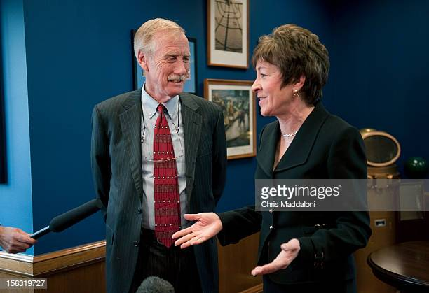 Independent Senatorelect Angus King greets the senior Senator from his state Sen Susan Collins RMaine in her Dirsken Senate office