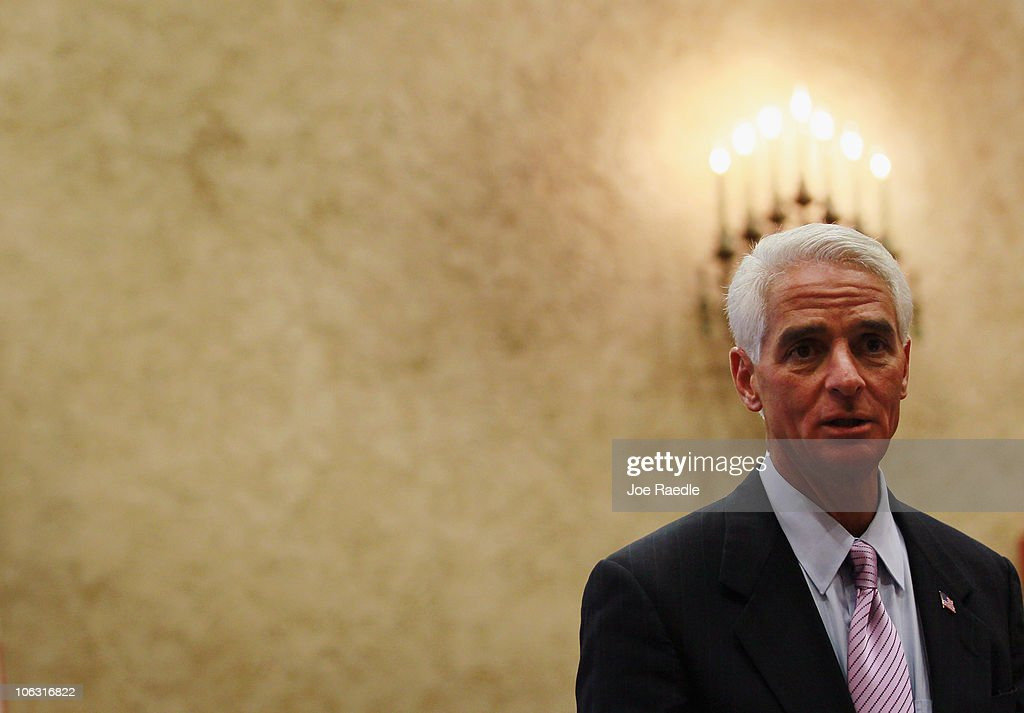 Independent Senatorial candidate Florida Governor <a gi-track='captionPersonalityLinkClicked' href=/galleries/search?phrase=Charlie+Crist&family=editorial&specificpeople=753543 ng-click='$event.stopPropagation()'>Charlie Crist</a> speaks during a swearing in ceremony for Miami-Dade County Judge Beth Bloom to the Eleventh Judicial Circuit Court at the Dade County courthouse on October 28, 2010 in Miami, Florida. Crist is in a three way race against Republican candidate Marco Rubio and Democratic candidate Kendrick Meek for the Florida Senate seat.