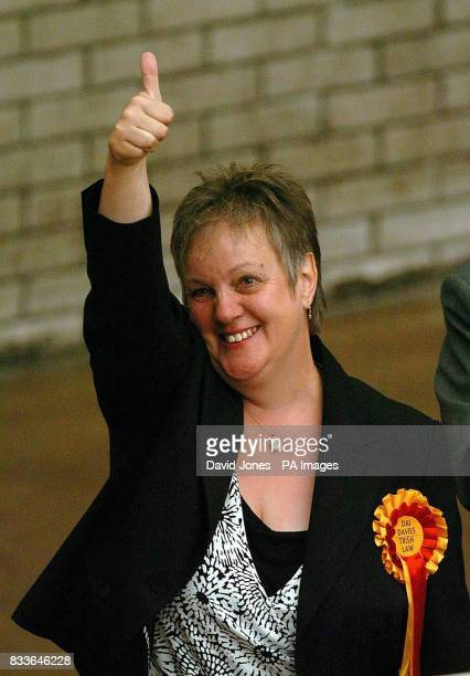 Independent Trish Law who was elected to the Welsh Assembly acknowledges the cheers of her supporters after the results were declared of the combined...