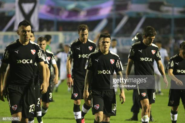 Independiente players react in their Copa Sudamericana match against Atletico Tucuman in the Jose Fierro stadium of Tucuman Argentina on August 22...