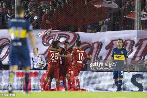 Independiente's forward Lucas Albertengo celebrates after scoring against Boca Juniors during their Argentina First Division football match at...