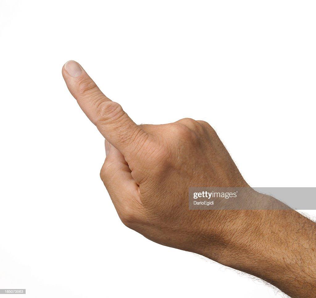 Index d'un mâle main sur un arrière-plan blanc : Photo