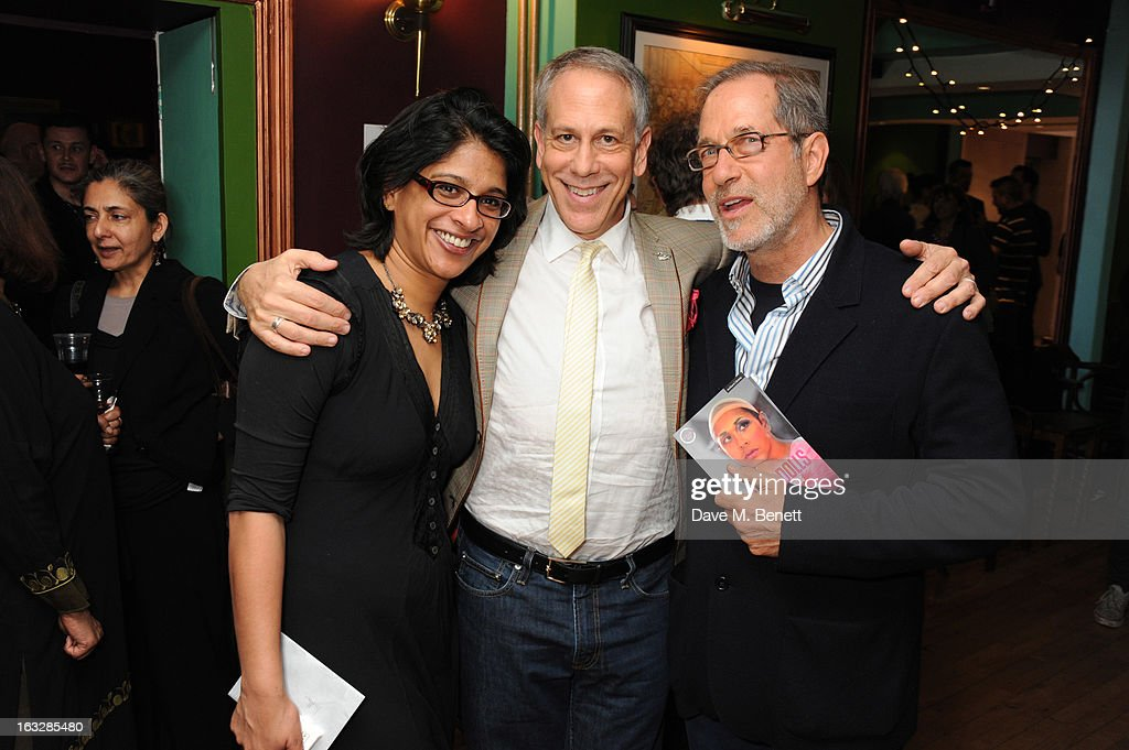Indhu Rubasingham, Philip Himberg and Stanley Buchthal attend an after party following the 'Paper Dolls' press night at Tricycle Theatre on March 6, 2013 in London, England.
