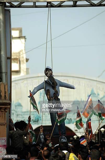 India activists of Maharashtra Navnirman Sena hang an effigy of Pakistanborn Mohammed Kasab the sole surviving gunman of the 2008 Mumbai attacks at...