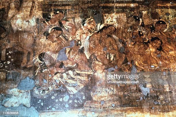India Ajanta cave fresco King Mahjanaka listening to Queen Vivali 15 century AD