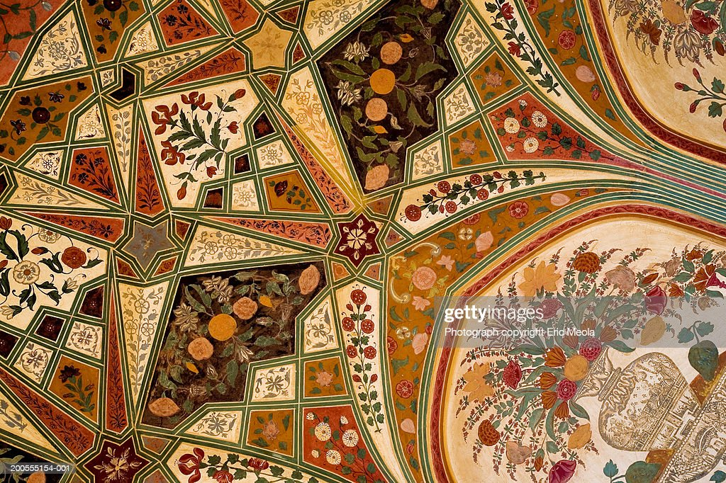 India, Amber, detail of ceiling of city palace : Stock Photo