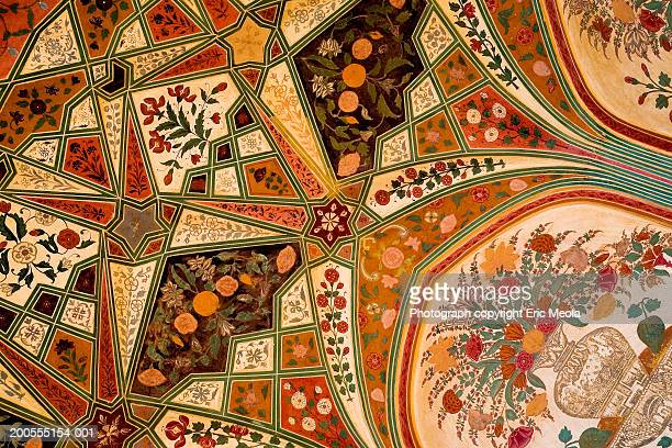 India, Amber, detail of ceiling of city palace