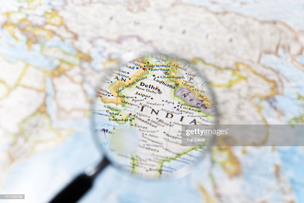 India and  Magnifying glass