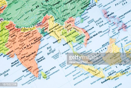 India and Malaysia regional map