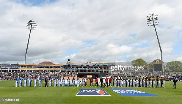 India and Pakistan line up ahead of the ICC Champions Trophy match between India and Pakiatan at Edgbaston on June 15 2013 in Birmingham England