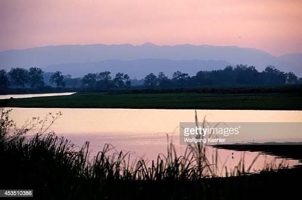 India Assam Province Kaziranga National Park Landscape At Dusk