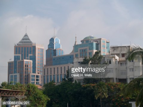 India, Bangalore, buildings on MG Road