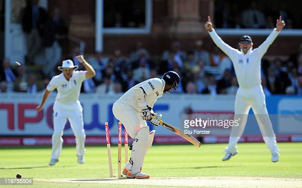 India batsman Abhinav Mukund is bowled by Stuart Broad during day four of the 1st npower test match between England and India at Lords on July 24...