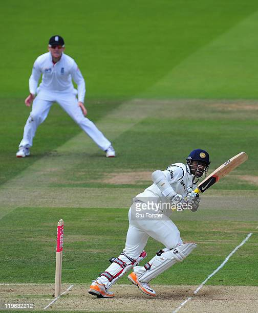 India batsman Abhinav Mukund picks up some runs as Eoin Morgan looks on during day three of the 1st npower test match between England and India at...