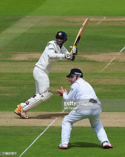 India batsman Abhinav Mukund picks up some runs as Ian Bell looks on during day three of the 1st npower test match between England and India at Lords...