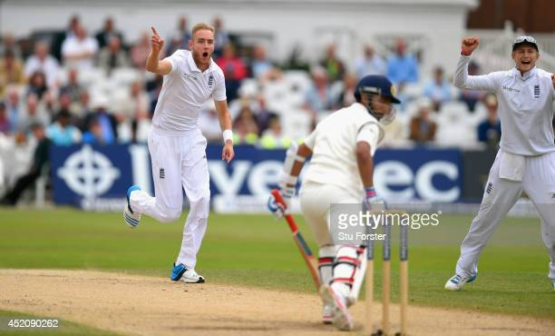 India batsman Ajinkya Rahane is dismissed by England bowler Stuart Broad during day five of the 1st Investec Test Match between England and India at...