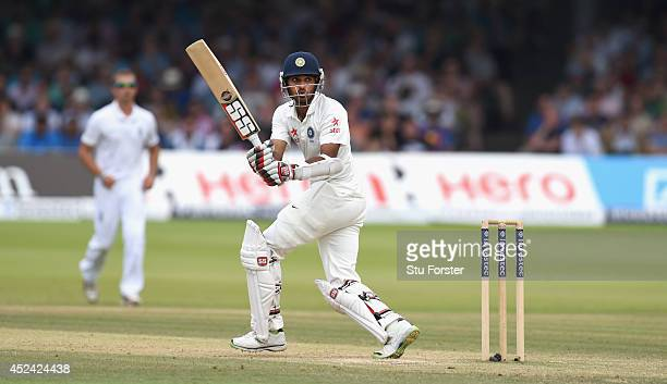 India batsman Bhuvneshwar Kumar hits out during day four of 2nd Investec Test match between England and India at Lord's Cricket Ground on July 20...