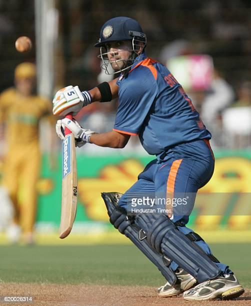 India batsman Gautam Gambhir bats during the first ODI between India and Australia on Sunday at Reliance Cricket Ground Vadodara