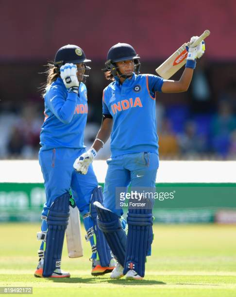 India batsman Harmanpreet Kaur reacts after reaching her 150 during the ICC Women's World Cup 2017 SemiFinal match between Australia and India at The...