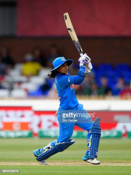 India batsman Mithali Raj hits out during the ICC Women's World Cup 2017 match between England and India at The 3aaa County Ground on June 24 2017 in...