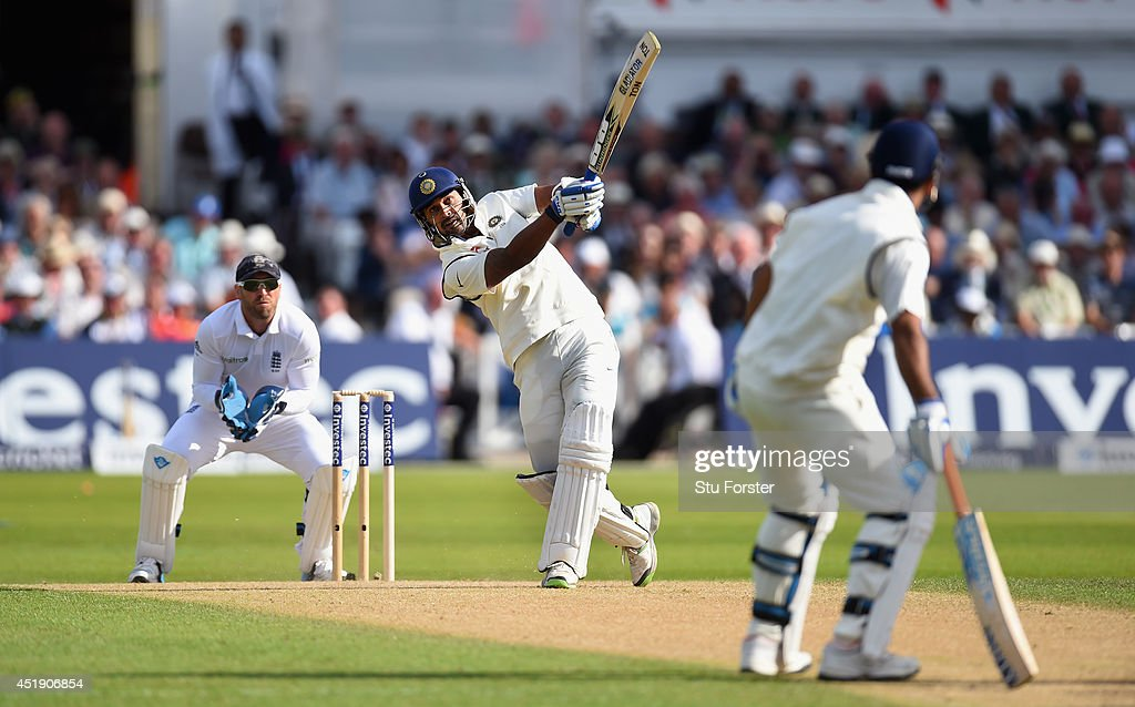 India batsman <a gi-track='captionPersonalityLinkClicked' href=/galleries/search?phrase=Murali+Vijay&family=editorial&specificpeople=5592328 ng-click='$event.stopPropagation()'>Murali Vijay</a> hits a straight six as England wicketkeeper Matt Prior looks on during day one of the 1st Investec Test Match between England and India at Trent Bridge on July 9, 2014 in Nottingham, England.