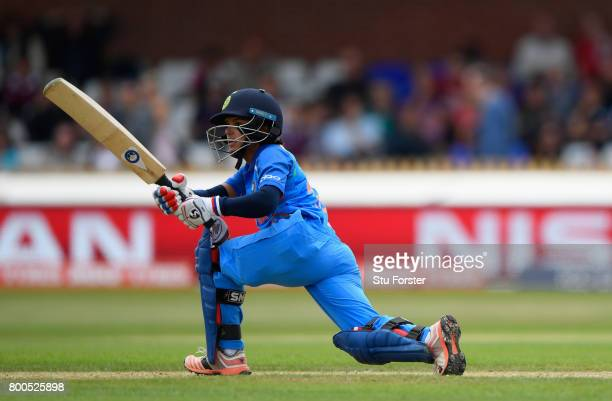 India batsman Poonam Raut hits out during the ICC Women's World Cup 2017 match between England and India at The 3aaa County Ground on June 24 2017 in...