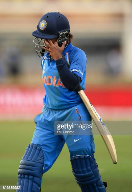 India batsman Poonam Raut reacts after being dismissed during the ICC Women's World Cup 2017 SemiFinal match between Australia and India at The 3aaa...
