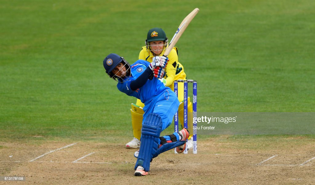 India batsman Punam Raut pulls a ball to the boundary watched by Australia wicketkeeper Alyssa Healy during the ICC Women's World Cup 2017 match between Australia and India at The County Ground on July 12, 2017 in Bristol, England.