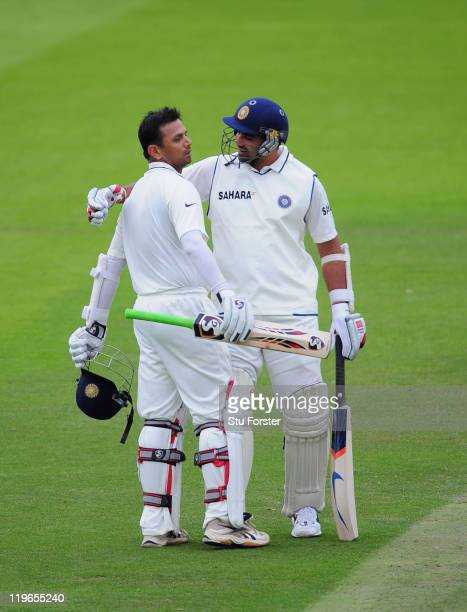 India batsman Rahul Dravid celebrates his century with Zaheer Khan during day three of the 1st npower test match between England and India at Lords...