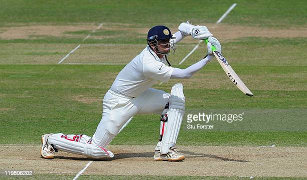 India batsman Rahul Dravid in action during day five of the 1st npower test match between England and India at Lords on July 25 2011 in London England