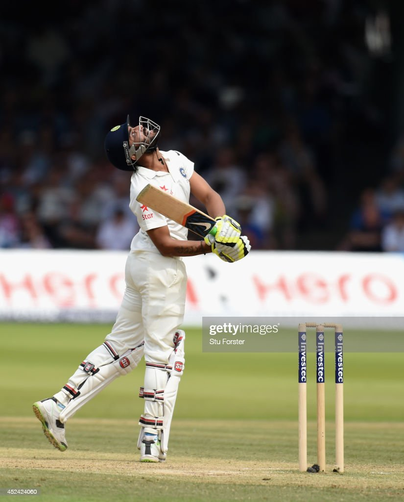 India batsman <a gi-track='captionPersonalityLinkClicked' href=/galleries/search?phrase=Ravindra+Jadeja&family=editorial&specificpeople=4880243 ng-click='$event.stopPropagation()'>Ravindra Jadeja</a> hits out only to be caught during day four of 2nd Investec Test match between England and India at Lord's Cricket Ground on July 20, 2014 in London, United Kingdom.