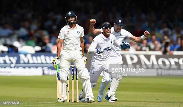 India batsman Ravindra Jadeja reacts after being given out lbw as Matt Prior and James Anderson celebrate during day one of 2nd Investec Test match...