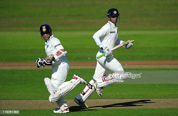 India batsman Sachin Tendulkar and Rahul Dravid pick up some runs during day two of the tour match between Somerset and India at the county ground on...