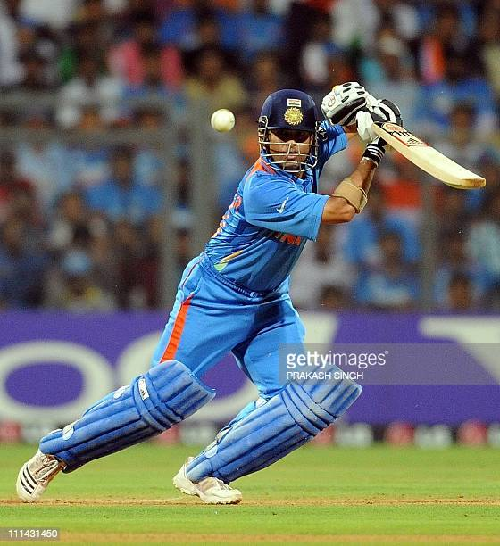 India batsman Sachin Tendulkar plays a shot during the ICC Cricket world Cup final match between India and Sri Lanka at The Wankhede Stadium in...