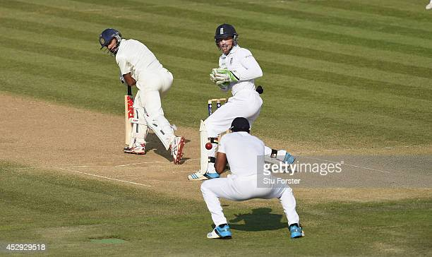 India batsman Shikhar Dhawan is caught by Chris Jordan during day four of the 3rd Investec Test match between England and India at Ageas Bowl on July...