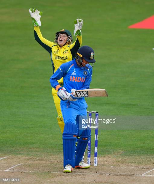 India batsman Smrti Mandhana is caught by a delighted Australia wicketkeeper Alyssa Healy during the ICC Women's World Cup 2017 match between...