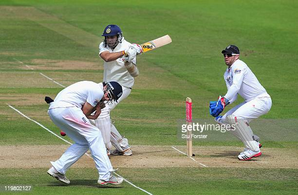India batsman VVS Laxman hits out striking Alastair Cook as Matt Prior looks on during day five of the 1st npower test match between England and...