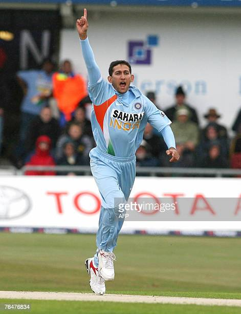 India bowler Ajit Agarkar appeals after taking England batsman Alastair Cook for four runs during their one day international cricket match at...
