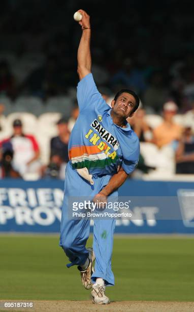 India bowler Anil Kumble of India in action during the 3rd NatWest One Day International between England and India at Lord's Cricket Ground in London...
