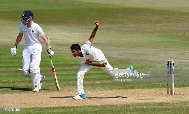 India bowler Bhuvneshwar Kumar in action during day four of the 3rd Investec Test match between England and India at Ageas Bowl on July 30 2014 in...