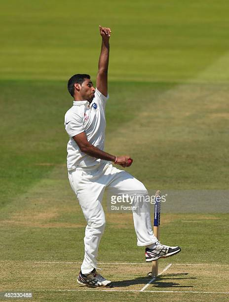 India bowler Bhuvneshwar Kumar in action during day two of 2nd Investec Test match between England and India at Lord's Cricket Ground on July 18 2014...
