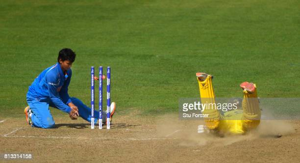 India bowler Deepti Sharma fails to run out Australia batsman Ellyse Perry during the ICC Women's World Cup 2017 match between Australia and India at...