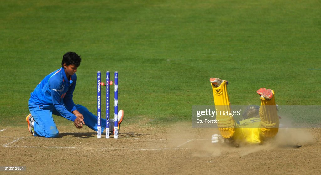 India bowler Deepti Sharma fails to run out Australia batsman Meg Lanning during the ICC Women's World Cup 2017 match between Australia and India at The County Ground on July 12, 2017 in Bristol, England.