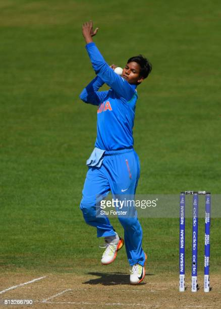 India bowler Deepti Sharma in action during the ICC Women's World Cup 2017 match between Australia and India at The County Ground on July 12 2017 in...