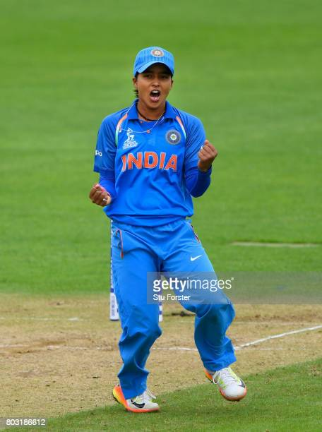 India bowler Ekta Bishit celebrates the wicket of West Indies batsman Felicia Walters during the ICC Women's World Cup 2017 match between West Indies...