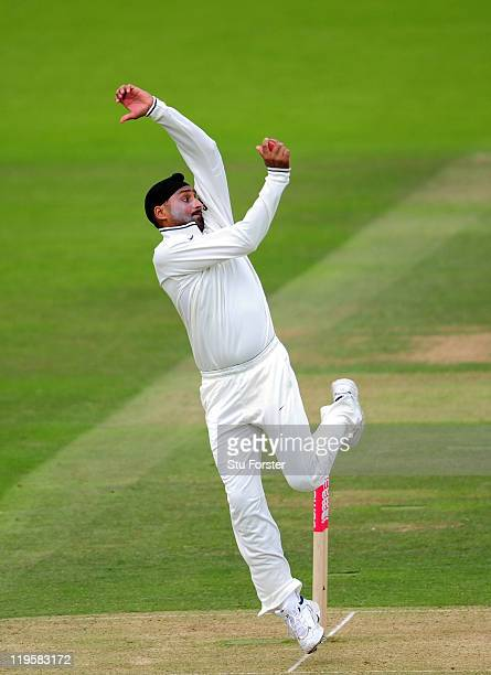 India bowler Harbhajan Singh bowls during day two of the 1st npower test match between England and India at Lords on July 22 2011 in London England