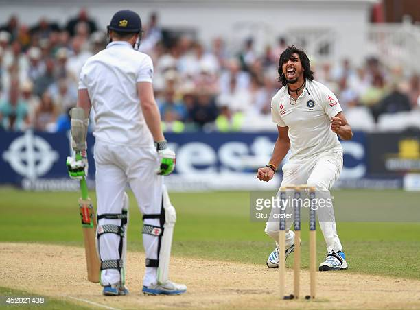 India bowler Ishant Sharma celebrates after dismissing England batsman Sam Robson during day three of the 1st Investec Test Match between England and...